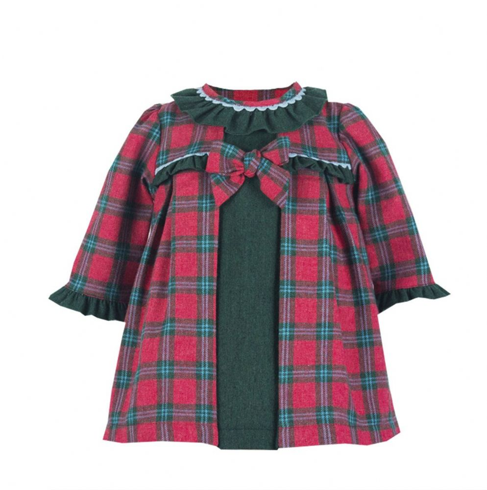 *SALE* Gorgeous Baby Girl Red Spanish Long Sleeve Checked Dress